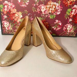 Gold glitter GB pumps